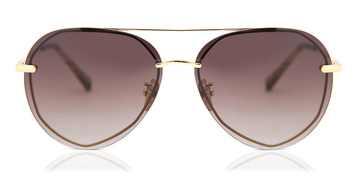 Image of Occhiali da Sole DIFF Lenox gold with sea turtle tortoise tips+brown gradient lens